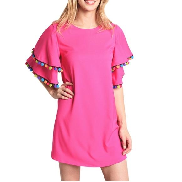 Love Riche Dresses & Skirts - NWT LOVERICHE Pink Dress w/ Pom Pom Trim